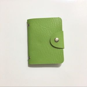 Green faux leather card organizer / holder